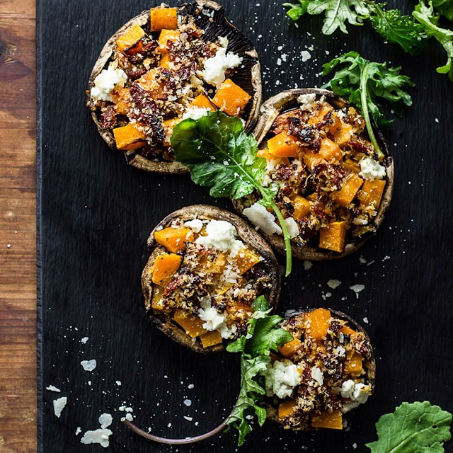 Butternut Squash Stuffed Mushrooms With Goat Cheese And Balsamic Glaze