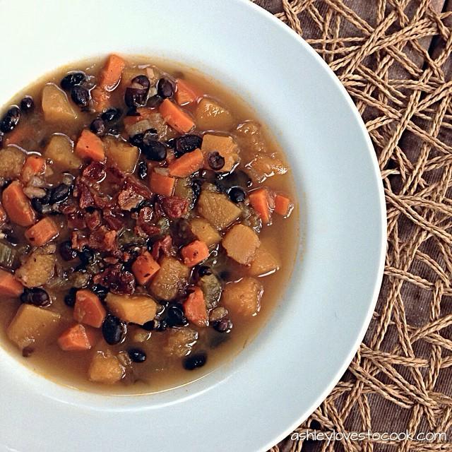 Maple, Bacon, Butternut & Black Bean Soup
