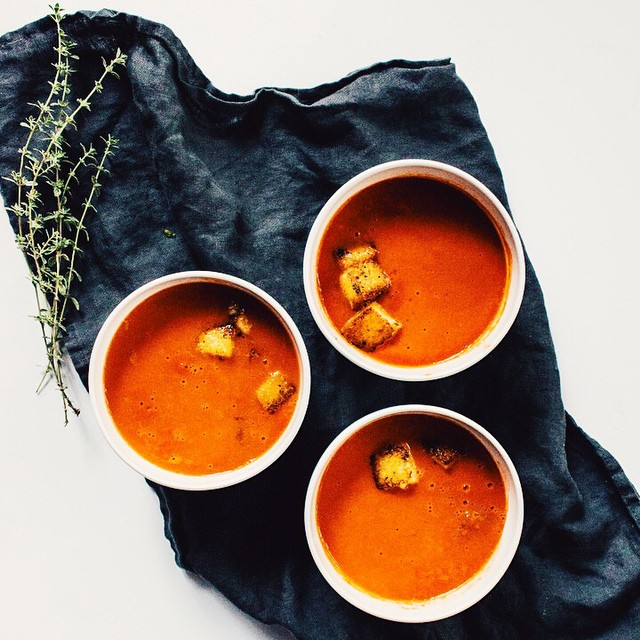 Tomato Soup With Parmesan Thyme Polenta Croutons