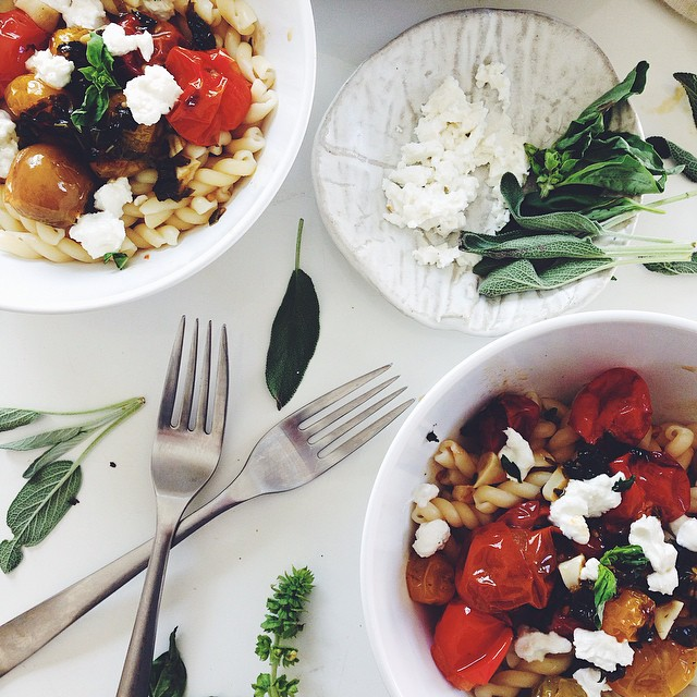 Gemelli With Basil & Sage Roasted Tomatoes And Chèvre