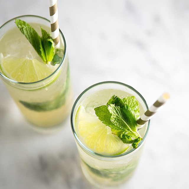 Gin & Ginger Cocktail With Lime & Mint
