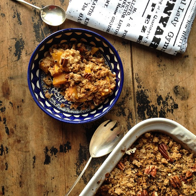 Pumpkin Crisp (crumble) With Gingerbread Pecan Topping