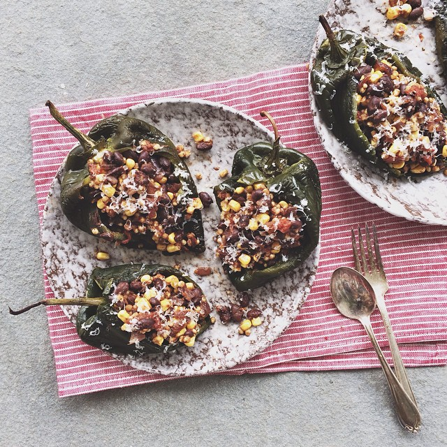 Roasted Poblanos Stuffed with Black Bean Black Quinoa Chili