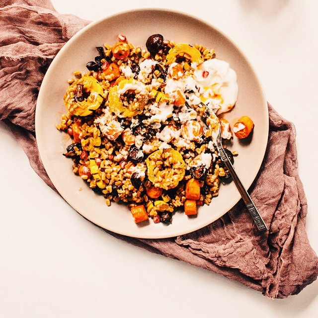 Spicy Farro Salad With Roasted Vegetables + Yogurt
