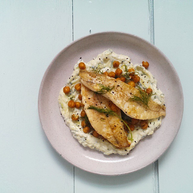 Haddock Pan Fried with Spicy Roasted Chickpeas, Dill And An Ottolenghi Inspired Tzatziki