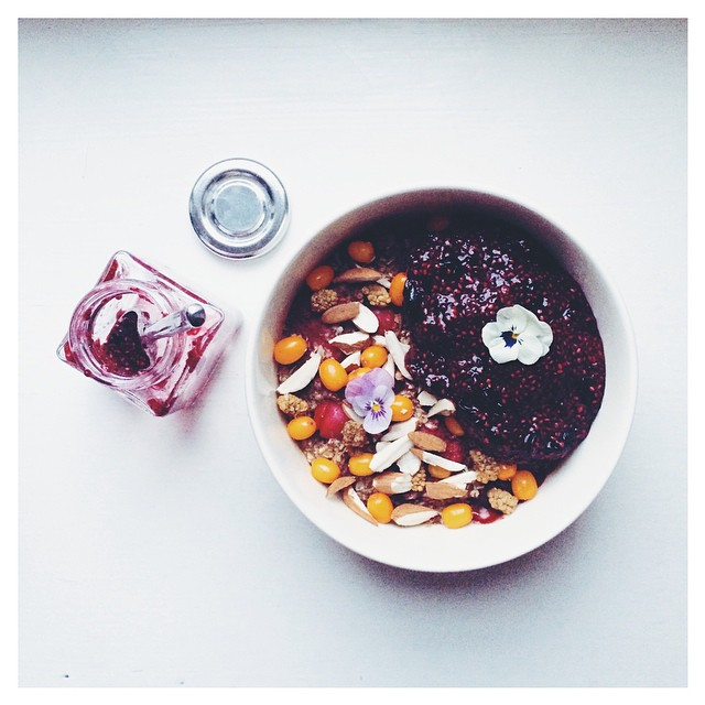 Baked Berry (cranberry And Raspberry) Oatmeal Served With Sea Buckthorn Berries, Mulberries, Crushed Almonds And Blackcurrant Vanilla Chia Jam
