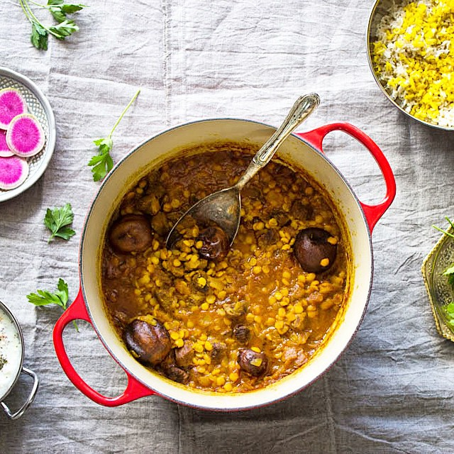 A Yellow Split Pea And Persian Lime Stew - Khoresh Gheymeh