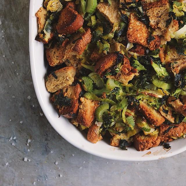 Super Veggie Sage Stuffing With Brussels Broccoli & Kale
