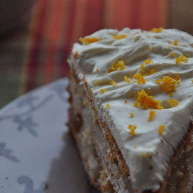 Pear & Yoghurt Cake With Orange Sour Cream Icing