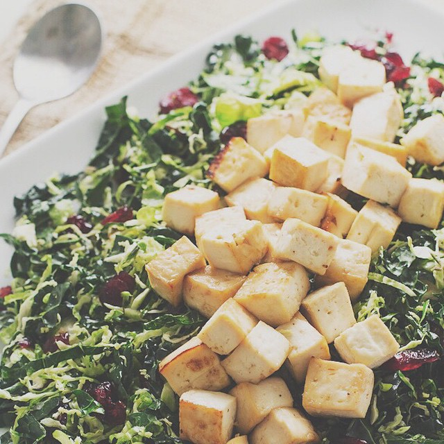 Warm Brussels Sprout & Kale Salad With Baked Maple Tofu