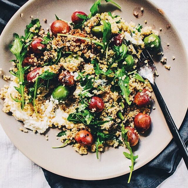 Roasted Grapes, Arugula, Green Olive Quinoa Salad With Balsamic