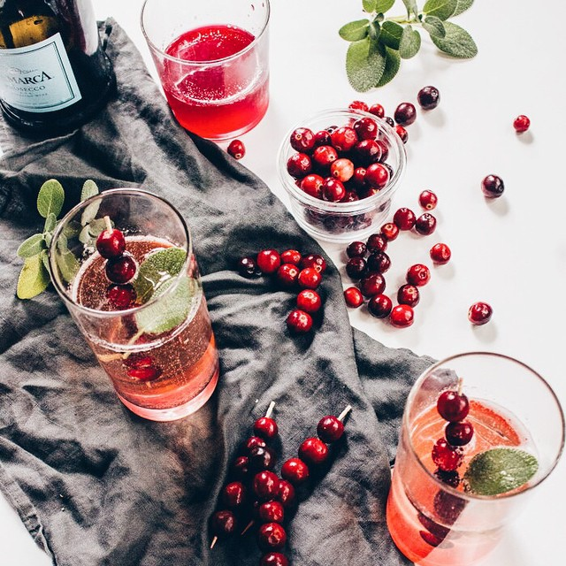 Sparkling Cranberry Sage Cocktail