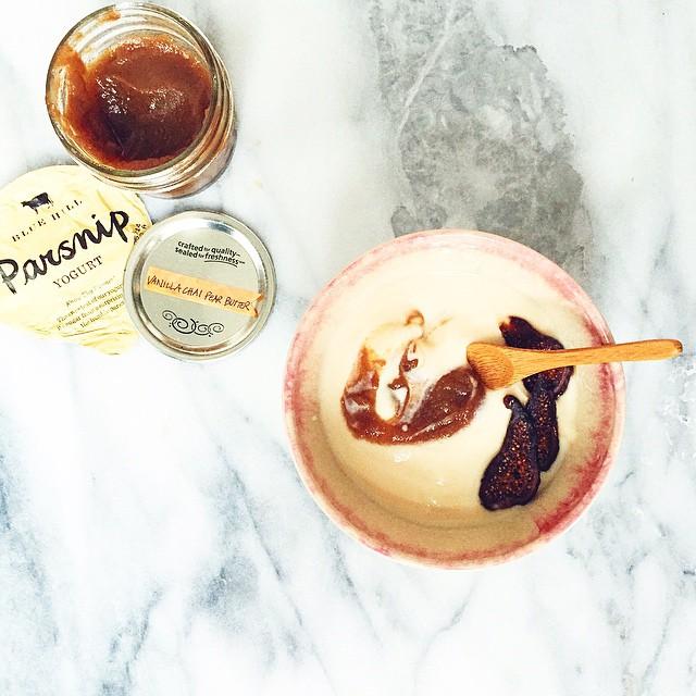 Parsnip Yogurt + Vanilla Chai Pear Butter + Dried Organic Figs