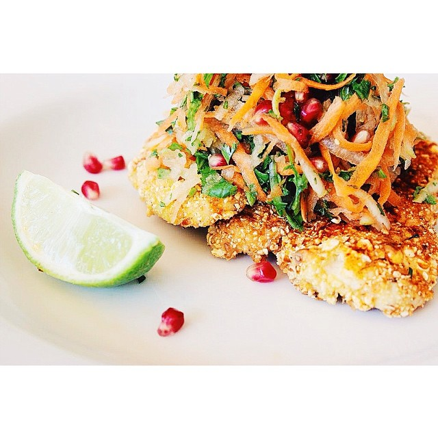 Popcorn Chicken With Pomegranate And Pear Slaw