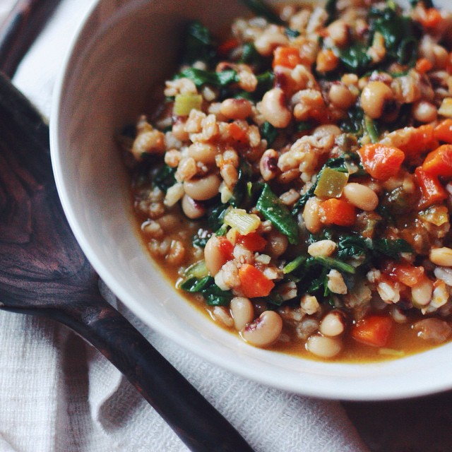 Ethiopian Black-eyed Pea Stew With Swiss Chard And Farro