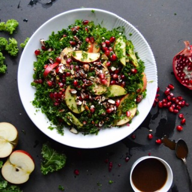 Kale Salad With Pomegranate & Almonds In Balsamic