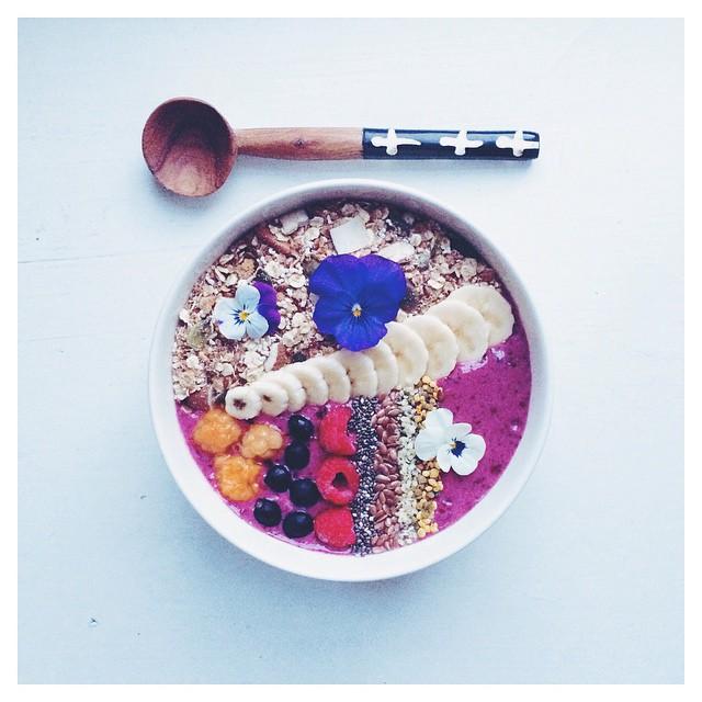 Purple Breakfast Bowl With Banana, Blackcurrants, Wild Blueberries, Açaí And Yogurt