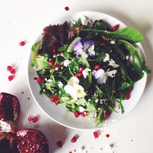 Simple Winter Salad With Pomegranate, Feta, And Balsamic