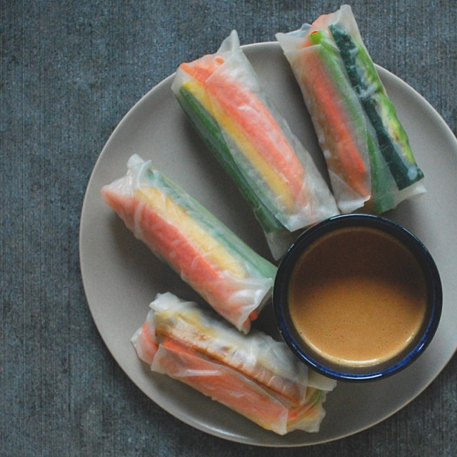 Fresh Spring Rolls With Coconut-peanut-ginger Dipping Sauce