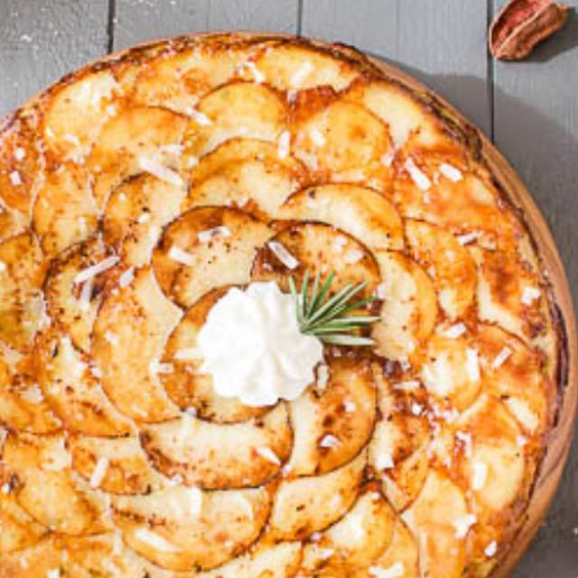 Roasted Garlic & Potato Galette With Asiago, Rosemary & Sour Cream