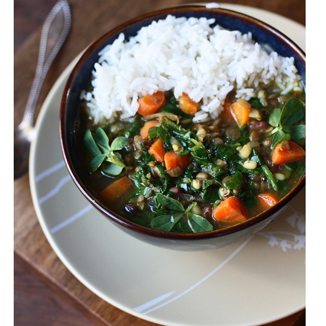 Three Bean Carrot Spinach Soup (spicy Indian Style)