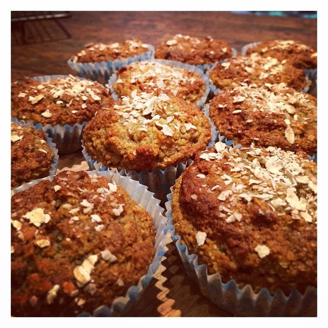 Blissful Oaty Banana Nut Muffins