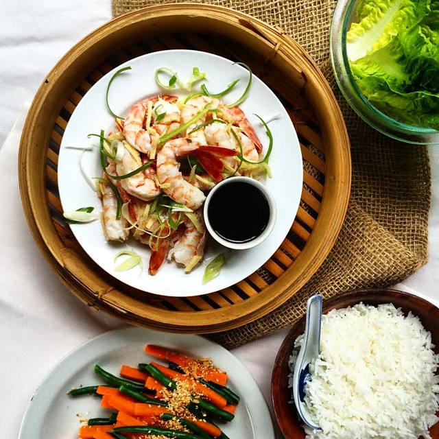 Steamed Tiger Prawns With Ginger & Spring Onions