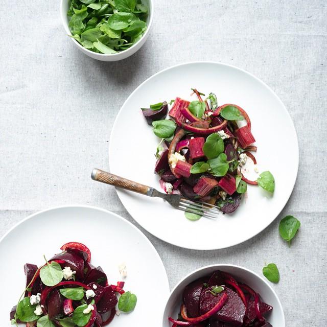 Beet And Roasted Rhubarb Salad