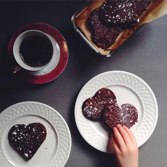 Heart-shaped Brownie Cookies