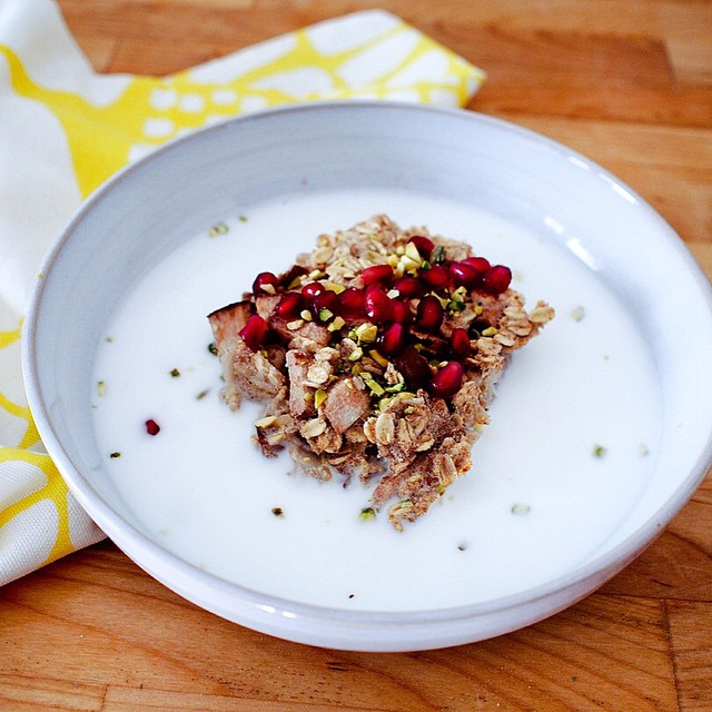 Pear Baked Oatmeal With Cardamom And Pistachio