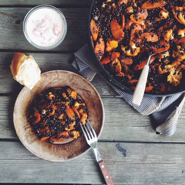 Beluga Lentils, Carrots And Cauliflower With Tandoori Spices + Tomato Raita