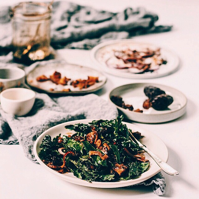 Kale Salad With Bacon, Dates And Balsamic Reduction