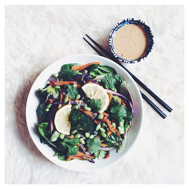 Black Bean Noodle And Veggie Stir-fry With Edamames, Miso-tahini Sauce, Fresh Coriander And Extra Lemon