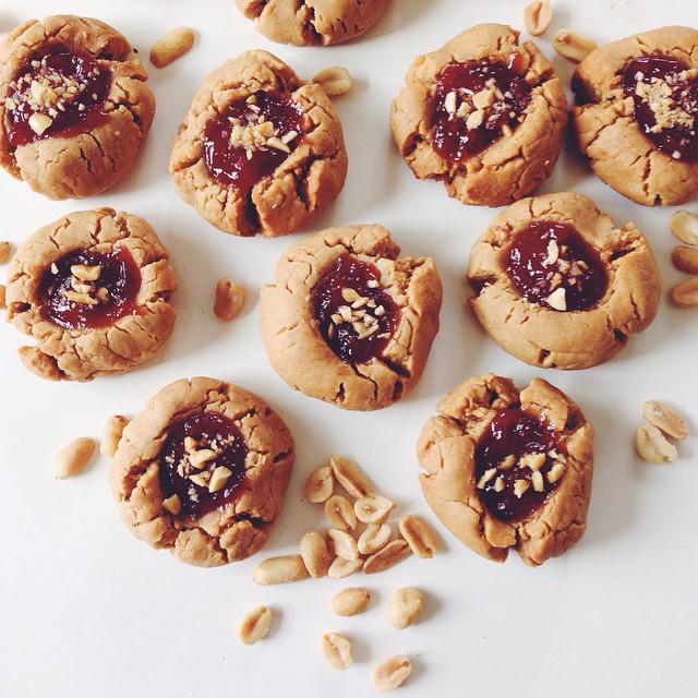 Peanut Butter & Strawberry Jam Thumbprint Cookies