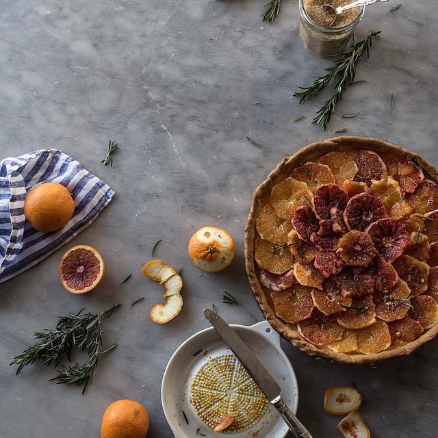 Blood Orange & Rosemary Tart