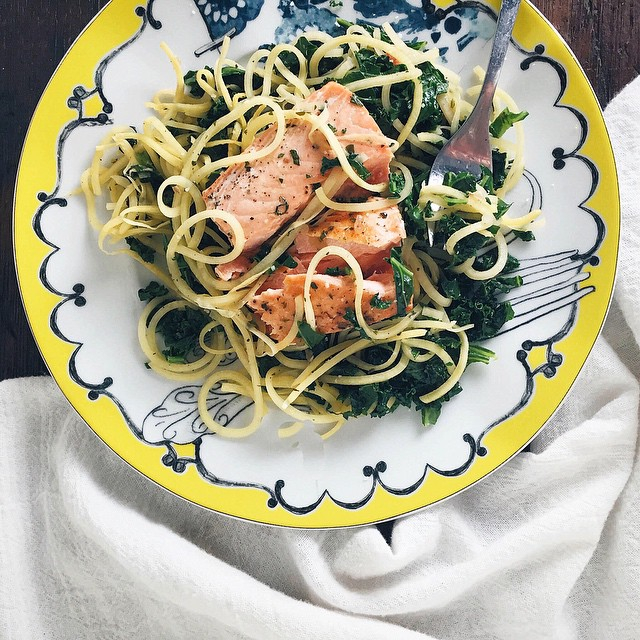 Salmon With Rutabaga Noodles And Kale Herb Sauce