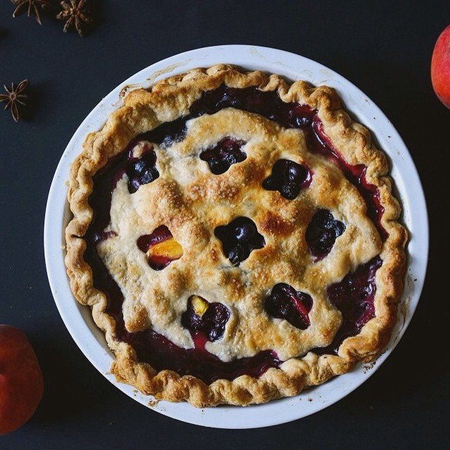 Whiskey Peach Blueberry Pie With Star Anise Crust