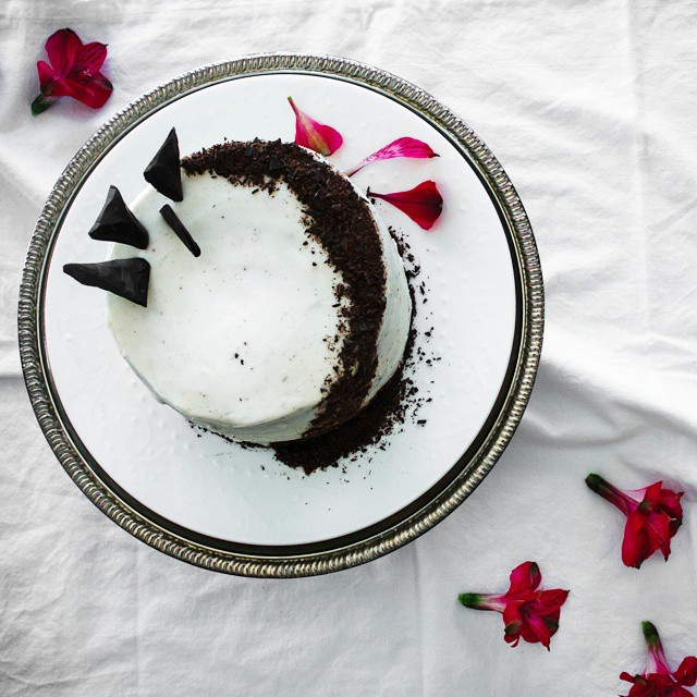 Chocolate Cake With Almond Liqour And Honey Goat Cheese Frosting