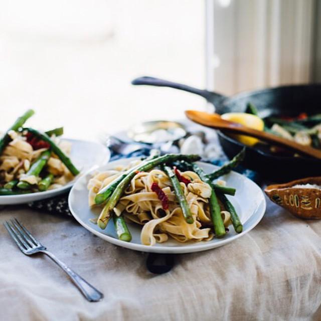 Asparagus & Smashed Garlic Tagliatelle