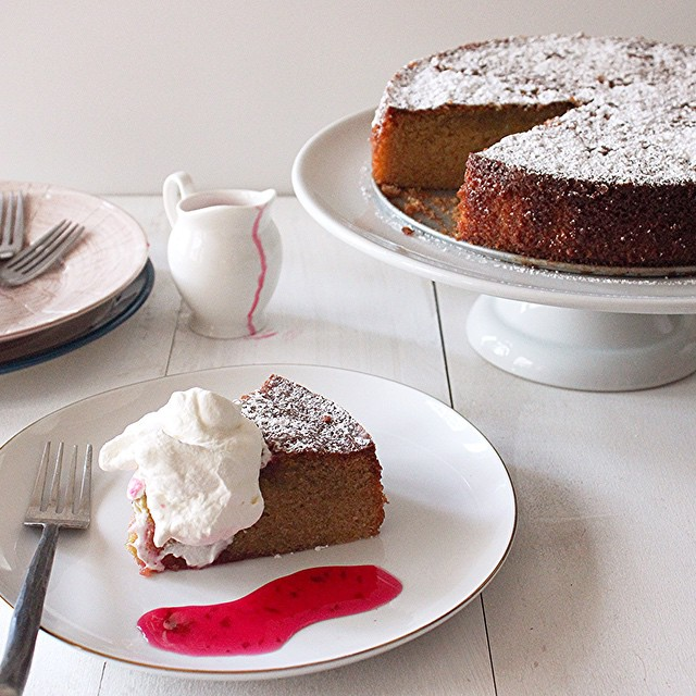Anise, Cinnamon, & Cardamom Olive Oil Cake With Whipped Cream & Rose Syrup