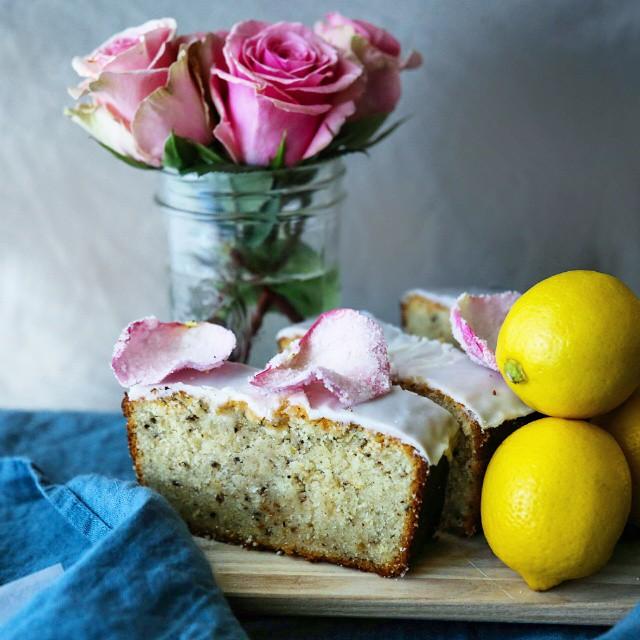 Rose Water Glazed Lemon-pepper Pound Cake