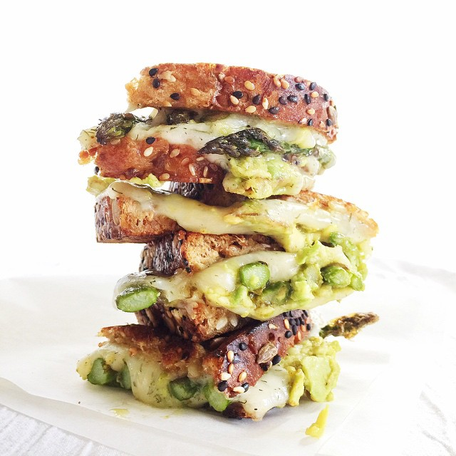 Spicy Smashed Avocado Asparagus With Dill Havarti Grilled Cheese