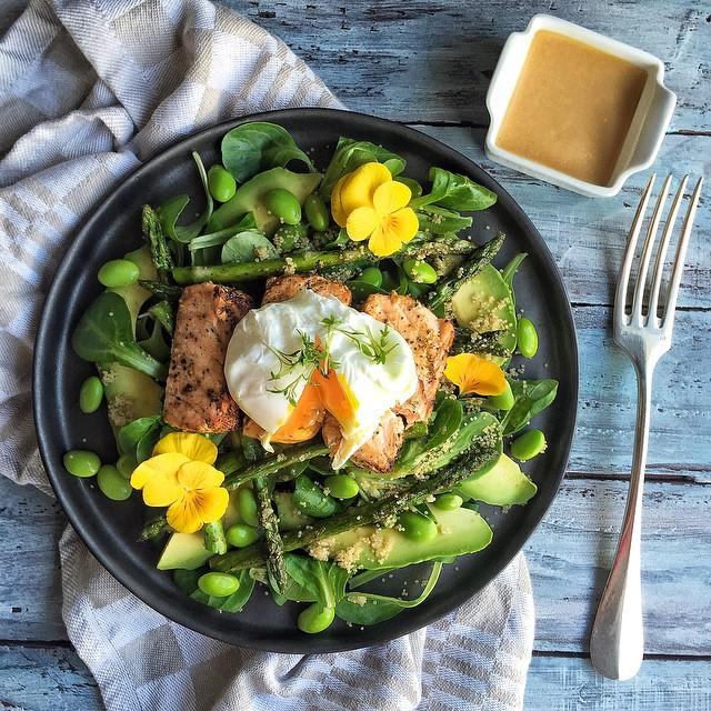Edamame, Salmon, Rhubarb And Miso Salad With Avocado, Asparagus, Amaranth And Poached Egg