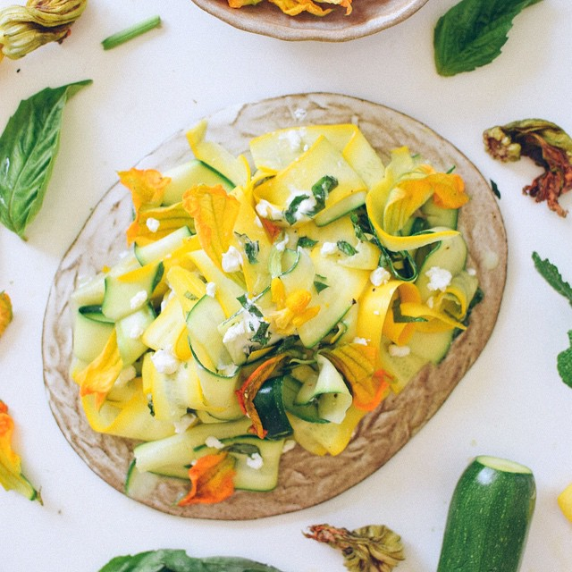 Squash Blossom & Herb Carpaccio With Goat Cheese