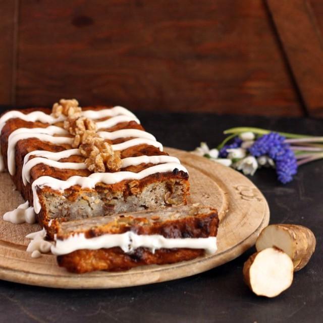 Jerusalem Artichoke (sunchoke) Banana Cake With Maple Drizzle