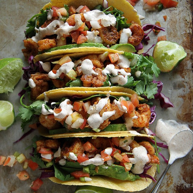 Spicy Shrimp Tacos With Chipotle Lime Crema