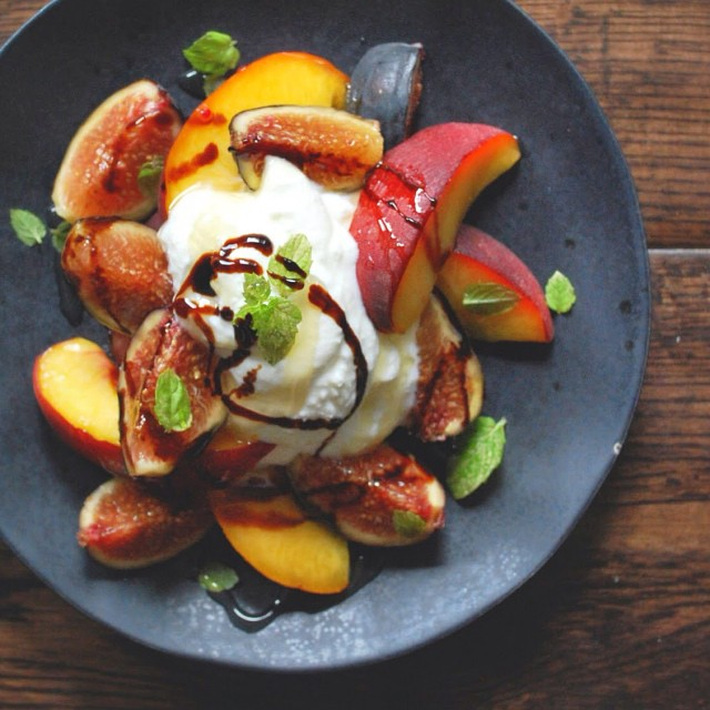 Whole Milk Ricotta With Figs, Stone Fruit, And Balsamic Reduction