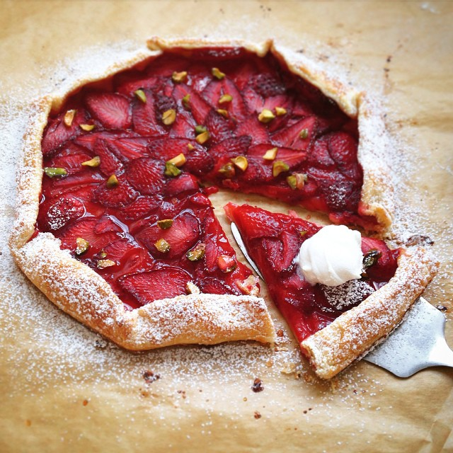 Strawberry Ricotta Galette With Brown Sugar & Pistachios