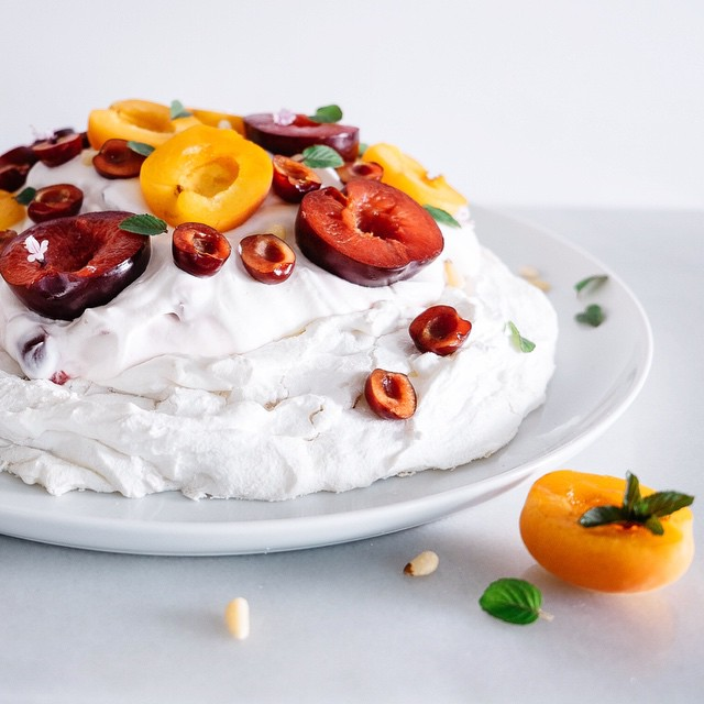 Stone Fruit & Pine Nut Pavlova With Cherry Cream