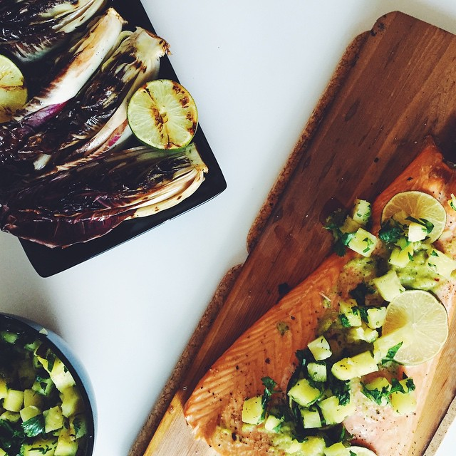 Cedar Planked Salmon With Charred Jalapeno Salsa